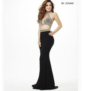 JVN by Jovani Daring Black High Neck Prom Dress 2